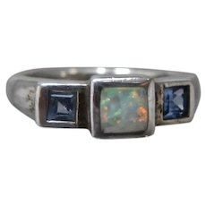 Mignon Faget Sterling Square Iolites and Opal Ring Sz 6