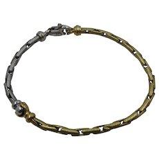 "Italian 18K Two Tone Gold Tubular Link Bracelet 7 1/4"""