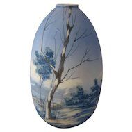 Large Italian Artist Painted Porcelain Vase Water Scene