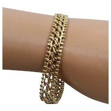 """14K Gold Rope & Beads Chain Bracelet Milor Italy 10mm 7 1/4"""""""