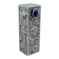 Italian 800 Silver Lipstick Tube Holder Case W/ Lapis Tab