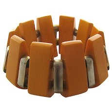 1930s Deco Butterscotch Bakelite & Chrome Bracelet Expandable