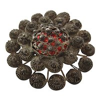 Ca 1930s Silver Cannetille Pin w/ Red Foil Center