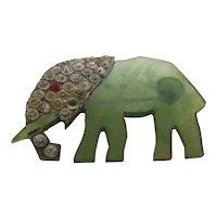 1930s Art Deco Lucite Elephant w/ Rhinestones Pin