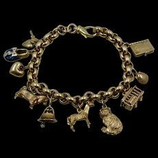 "Unoaerre 14K Charm Bracelet w/ 10 Charms Rolo Links 8""  37.4 Grams"