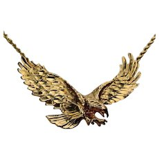 """14K Sculptural Eagle on Rope Chain Necklace 24.5"""""""