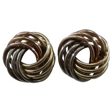 !4K Tri Color Gold Love Knot Stud Earrings
