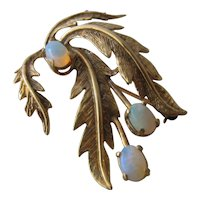 Vintage 14K Jelly Opals Leaves Pin by Engelland