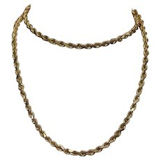 """Thick 14K Rope Chain Necklace 22"""" 4mm 26.4 grams"""