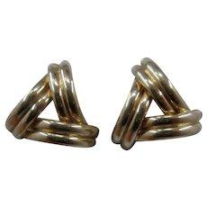14K Triangle Post Earrings of 3 Half Hoops  Post