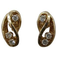 14K Stylized Figure 8 Earrings w Diamonds .38 TCW Post
