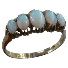 Vintage British 18K Ring w/ 5 Fiery Oval Opal Cabochons Sz 11 1/4