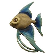 Vintage 14K Enamel Angelfish Fish Pin Germany KG
