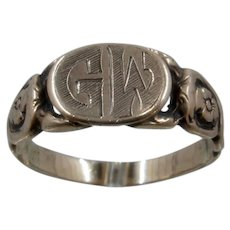 "Victorian 14K ""GW"" Signet Ring W/ Snakes Flowers Sz 9"