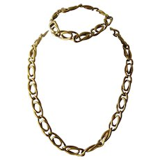 Chunky 14K Italy Double Curb Link Necklace & Bracelet 42.4 Grams