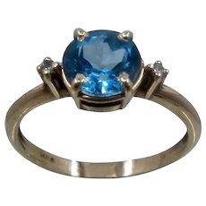 14K Swiss Blue Topaz Diamonds Ring Sz 6 1/2