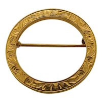 Early 1900s 14K Circle Pin Incised Gold