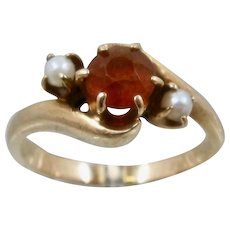 10K Palmeira Citrine and Pearls Ring Sz 5 1/2