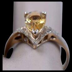 10K Pear Shape Citrine Textured Gold Ring Sz 7 1/2