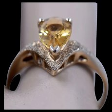 10K Pear Shape Citrine Textured Gold Ring Sz 7 1/2