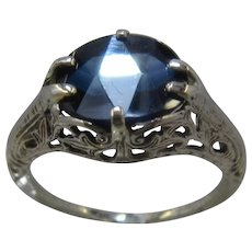 Ca 1930 Art Deco 14K WG Blue Sapphire Spinel Ring 3.4 Carats Sz 6.5