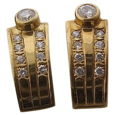 Elegant 14K Diamonds Curved Earrings European Posts .5 CTW