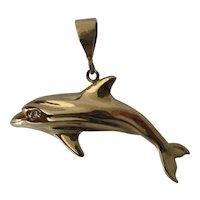 Big 14K Gold Dolphin Pendant Diamond Eye 7.2 Grams