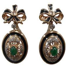 14K Rose Gold Emerald Diamonds Enamel Drop Earrings w/ Bow