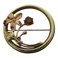 14K Yellow Topaz Circle Pin w/Flower in 2-Colors Gold