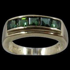 14K Green Tourmaline Ring Channel Set Square Stones Size 6 1/4
