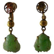 Mid 1900s 14K Carved Jade Buddhas Drop Earrings Screw Back