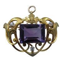 Krementz Art Nouveau 14K Amethyst Diamonds Pin Pendant
