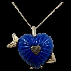 "Chunky Lapis Heart 14K Gold Necklace Artist Made 20.5"" Chain"