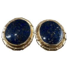 14K Deep Blue Lapis Oval Post Earrings Big Studs