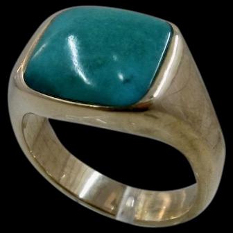 Mens 14k Square Turquoise Ring Sz 9