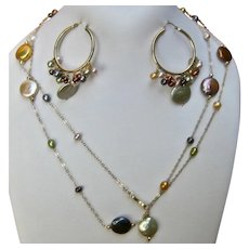 Vintage 14K Multicolor Keshi Pearls Necklace & Earrings