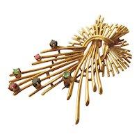 14K Stylized Flower Spray Pin w/ Emeralds, Rubies, Sapphires