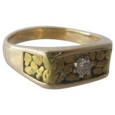 14K Gold Nuggets & Diamond Mens Ring Sz 10.5 mid 1900s
