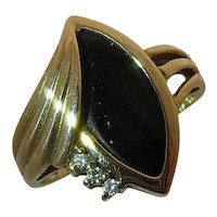 10K Onyx Diamonds Deco Style Ring Ft Thomas Jewelry Co. Sz 6 1/4