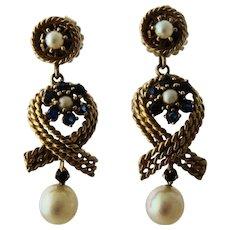 Long 14K Dangle Earrings w/ Sapphires & Pearls Maritime Theme