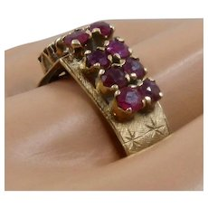 1940s 14K Rubies Arched Ring 1.75 TCW Textured/Stars Sz 9.5