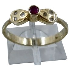 10K Ruby Spinel CZ Bow Ring Sz 7 1/2
