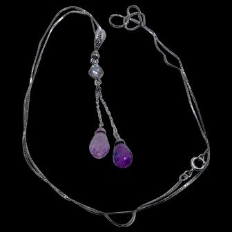 Pink Sapphire Briolettes & Diamonds Necklace 10K/14K WG Chain