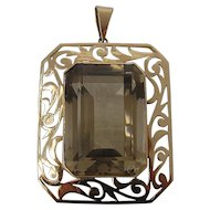Huge 14K Smoky Quartz 40 Carat Pendant Nouveau Design