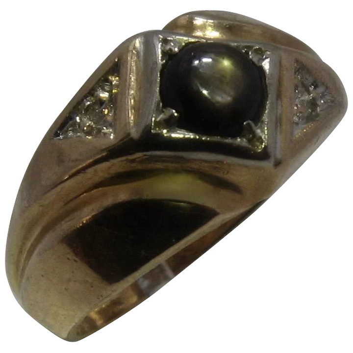 Silver Black Diopside Ring 10x14 mm Oval 7 Ct Black Star Ring 4 Star Black Star Men Heavy Silver Ring Black Diopside Men Ring Gemstone Ring