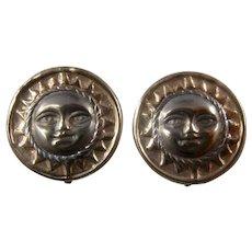 10K Sun Face Lever Back Button Earrings White & Rose Gold