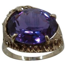 14K Color Change Synthetic Sapphire Cocktail Ring