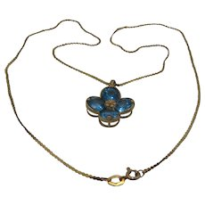 14K Blue Topaz Dogwood Flower Necklace Pendant Chain 18.5""