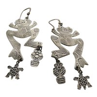 Big Whimsical Sterling Frog Earrings w/ Dangling Turtle & Flower Pot