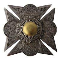 Victorian Sterling Hand Engraved Maltese Cross Pin Pendant w Gold Center